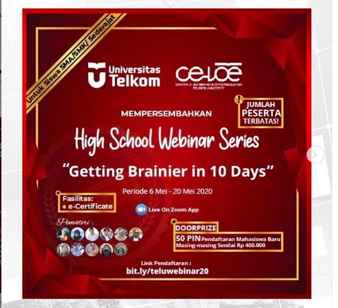 Telkom University Gelar Webinar Series Untuk Siswa – Siswi SMA/SMK